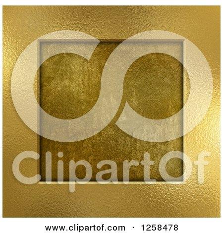 Clipart of a 3d Gold Metal Frame over Grunge - Royalty Free Illustration by KJ Pargeter