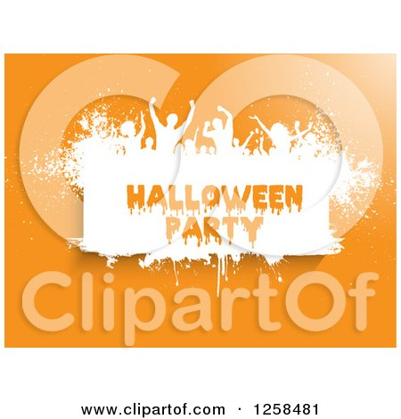 Clipart of White Grunge Dancers over Halloween Party Text on Orange - Royalty Free Vector Illustration by KJ Pargeter