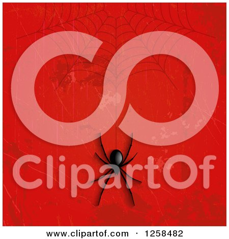 Clipart of a Creepy Black Spider Hanging from a Web over Grungy Red - Royalty Free Vector Illustration by KJ Pargeter