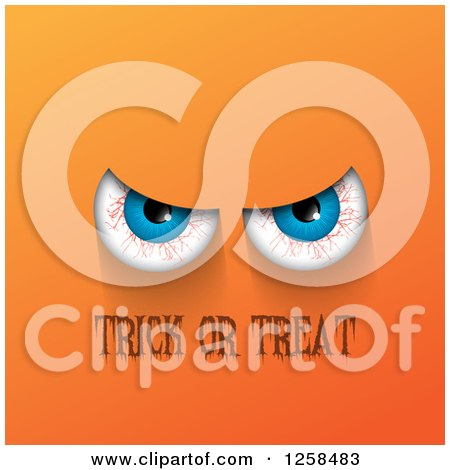 Clipart of Bloodshot Eyes over Trick or Treat Text on Orange - Royalty Free Vector Illustration by KJ Pargeter