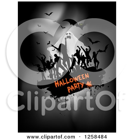 Clipart of Black Grunge Dancers over Halloween Party Text with a Ghost and Bats on Gray - Royalty Free Vector Illustration by KJ Pargeter