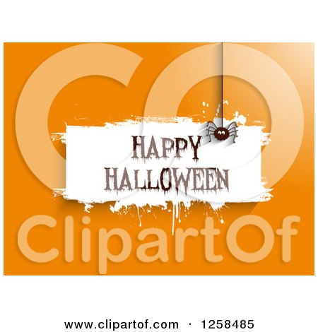 Clipart of White Grunge Happy Halloween Banner with a Spider on Orange - Royalty Free Vector Illustration by KJ Pargeter