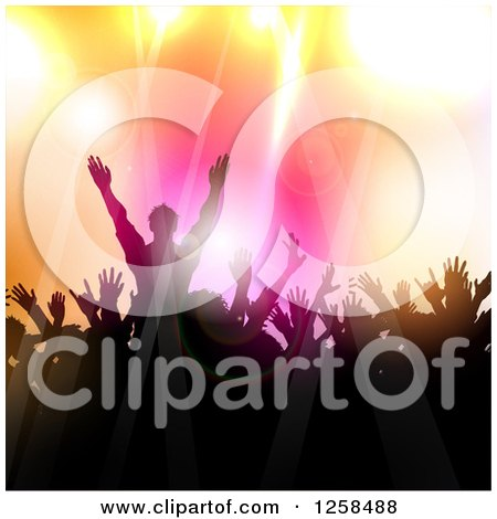 Clipart Of A Silhouetted Dancing And Cheering Crowd Over Colorful Lights Royalty Free Vector Illustration