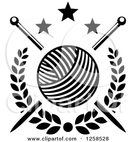 Clipart Of Black And White Knitting Needles And Yarn With