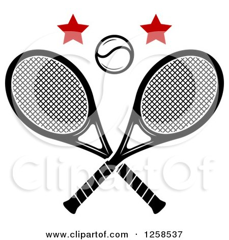 Clipart of a Ball and Stars over Crossed Tennis Rackets - Royalty Free Vector Illustration by Vector Tradition SM