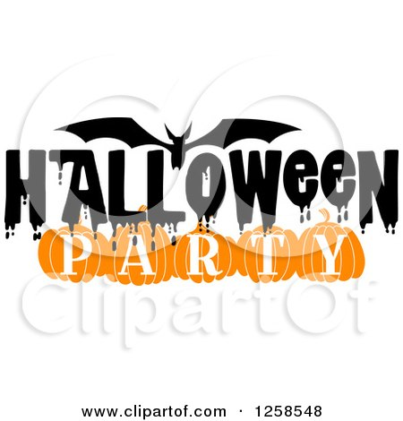 Clipart Of A Flying Bat With Halloween Party Text ...