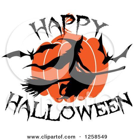Clipart of a Flying Witch with Happy Halloween Text - Royalty Free Vector Illustration by Vector Tradition SM
