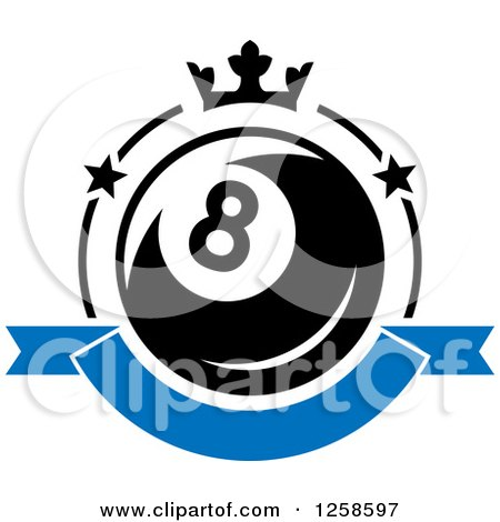 Clipart of a Billiards Eight Ball with a Crown and Banner - Royalty Free Vector Illustration by Vector Tradition SM