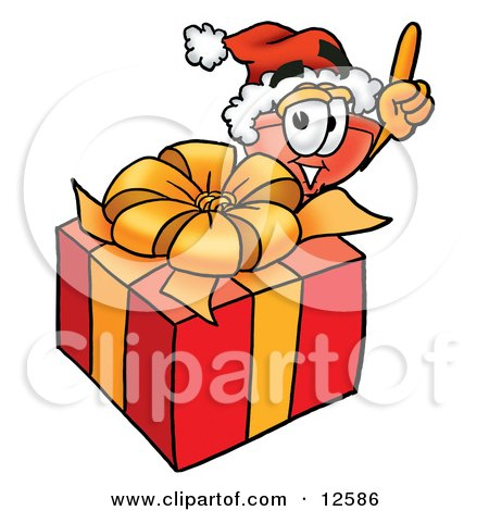 Clipart Picture of a Sink Plunger Mascot Cartoon Character Standing by a Christmas Present by Toons4Biz
