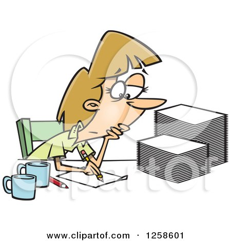 Clipart of a Cartoon Tired Caucasian Woman Grading or Marking Papers - Royalty Free Vector Illustration by toonaday