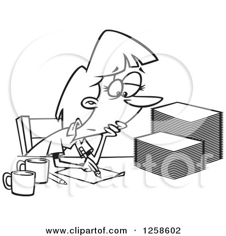 Clipart of a Black and White Cartoon Tired Woman Grading or Marking Papers - Royalty Free Vector Illustration by toonaday
