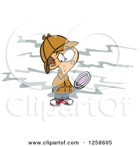 Clipart of a Cartoon Caucasian Boy Sherlock Picking up a Scent and Holding a Magnifying Glass - Royalty Free Vector Illustration by toonaday