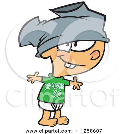 Clipart of a Cartoon Caucasian Boy Wearing Pants on His Head - Royalty Free Vector Illustration by toonaday