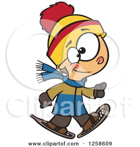Clipart of a Cartoon Caucasian Boy Walking in Snowshoes - Royalty Free Vector Illustration by toonaday
