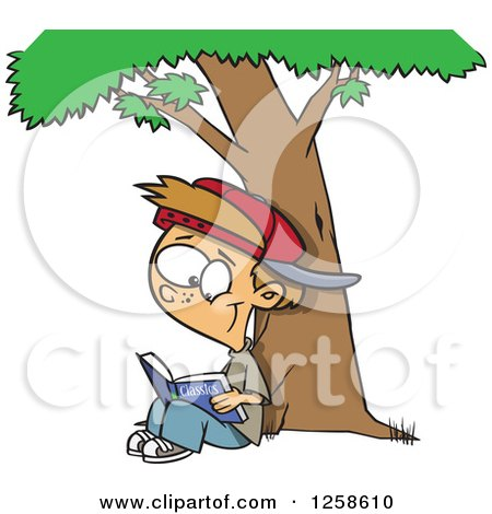 Clipart of a Cartoon Caucasian Boy Reading a Classic Book Under a Tree - Royalty Free Vector Illustration by toonaday
