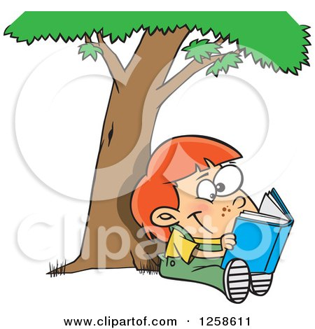 Clipart of a Cartoon Caucasian Child Reading a Book Under a Tree - Royalty Free Vector Illustration by toonaday