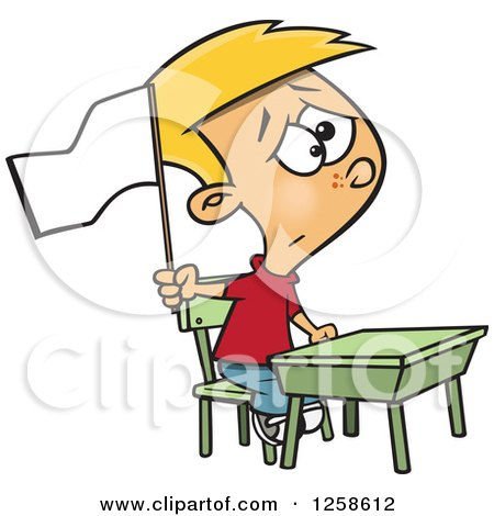 Clipart of a Cartoon Cauacsian School Boy Waving a White Flag at His Desk - Royalty Free Vector Illustration by toonaday