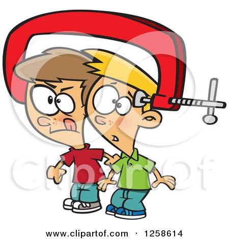 Clipart of Cartoon Caucasian Boys with Their Heads Together in a Vice - Royalty Free Vector Illustration by toonaday