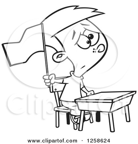 Clipart of a Black and White Cartoon School Boy Waving a White Flag at His Desk - Royalty Free Vector Illustration by toonaday