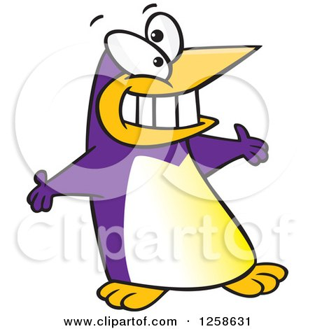 Clipart of a Purple Cartoon Welcoming Penguin with Open Arms - Royalty Free Vector Illustration by toonaday