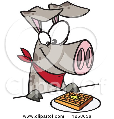 Clipart of a Cartoon Pig Eating a Waffle - Royalty Free Vector Illustration by toonaday