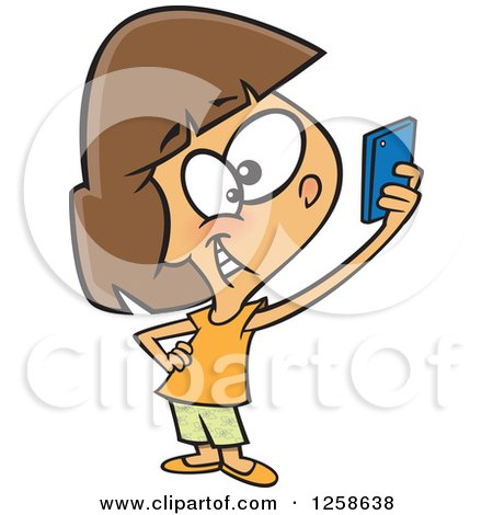 Clipart of a Cartoon Caucasian Girl Taking a Selfie with Her Cell Phone - Royalty Free Vector Illustration by toonaday