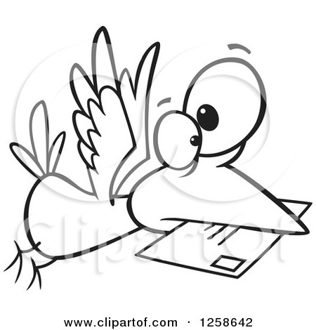 Clipart of a Black and White Cartoon Bird Delivering Air Mail - Royalty Free Vector Illustration by toonaday