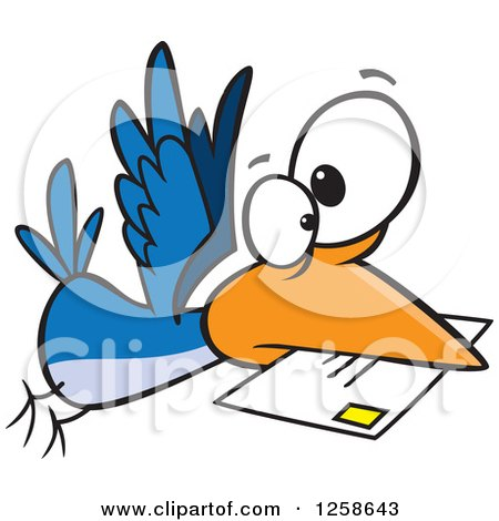 Clipart of a Cartoon Blue Bird Delivering Air Mail - Royalty Free Vector Illustration by toonaday