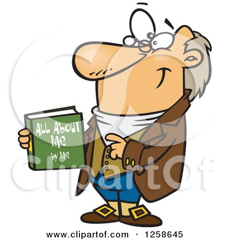 Clipart of a Cartoon Caucasian Man Holding His Biograpy Book - Royalty Free Vector Illustration by toonaday