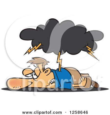 Clipart of a Cartoon Tired Caucasian Man Being Struck with Lightning - Royalty Free Vector Illustration by toonaday