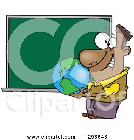Clipart of a Cartoon Black Male Teacher Holding a Globe by a Chalkboard - Royalty Free Vector Illustration by toonaday