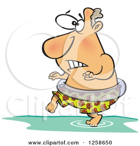 Clipart of a Cartoon Caucasian Man Stepping in Cold Water - Royalty Free Vector Illustration by toonaday