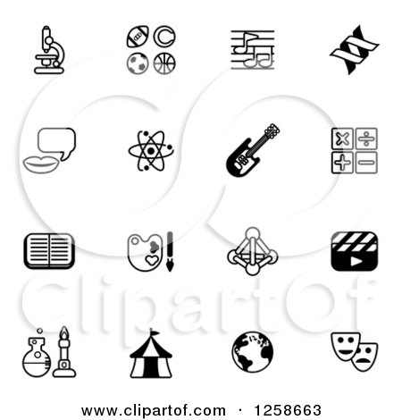 Clipart of Black and White School Subject Icons - Royalty Free Vector Illustration by AtStockIllustration