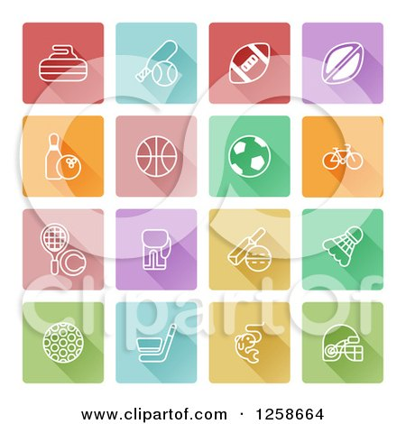 Clipart of Colorful Square Sports Icons - Royalty Free Vector Illustration by AtStockIllustration