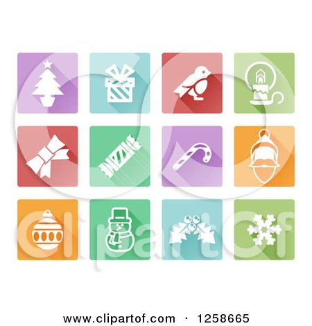 Clipart of Colorful Square Christmas Item Icons - Royalty Free Vector Illustration by AtStockIllustration