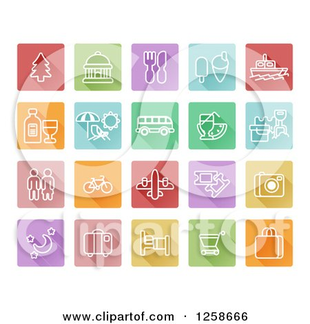 Clipart of Colorful Square Travel Icons - Royalty Free Vector Illustration by AtStockIllustration