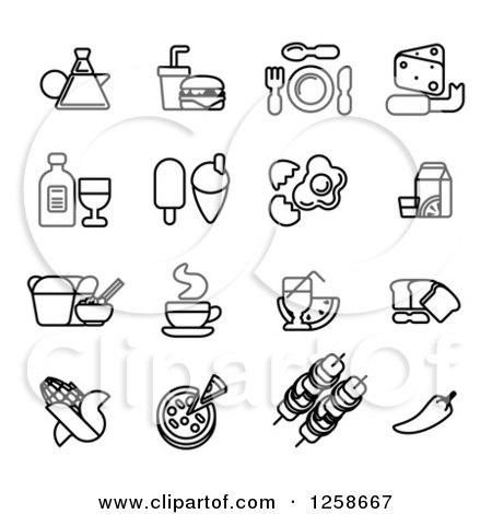 Clipart of Black and White Coffee and Food Icons - Royalty Free Vector Illustration by AtStockIllustration