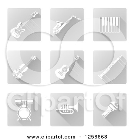 Clipart of Square White and Gray Music Instrument Icons - Royalty Free Vector Illustration by AtStockIllustration