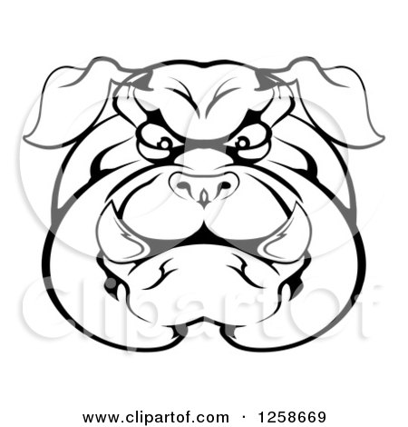 Clipart of a Black and White Angry Bulldog Face - Royalty Free Vector Illustration by AtStockIllustration