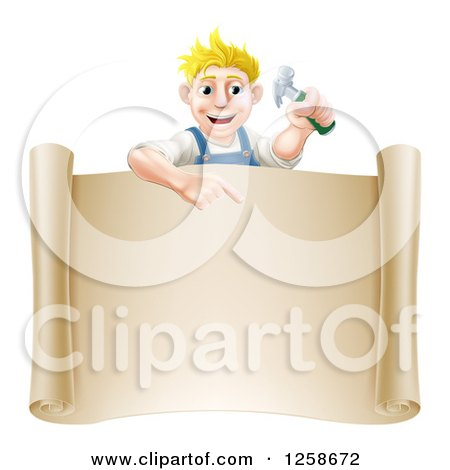 Happy Blond White Worker Man Holding a Hammer and Pointing down at a Scroll Sign Posters, Art Prints