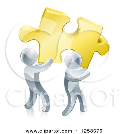 Clipart of 3d Silver Men Carrying a Golden Puzzle Piece - Royalty Free Vector Illustration by AtStockIllustration