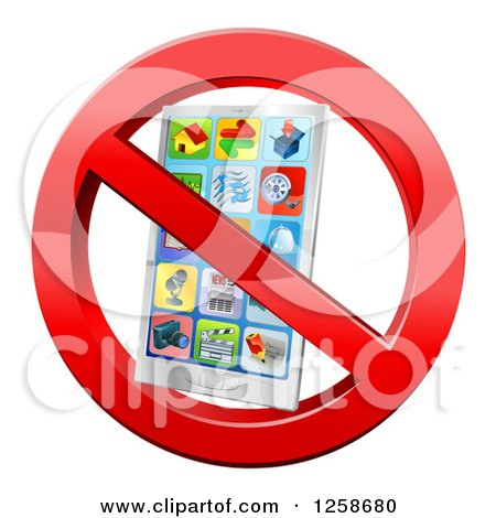 Clipart of a 3d Silver Smart Phone in a Restricted Symbol - Royalty Free Vector Illustration by AtStockIllustration