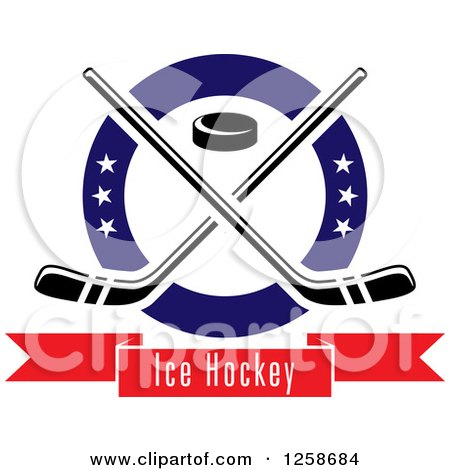 Clipart of a Puck and Crossed Hockey Sticks in a Ring with Stars over a Text Banner - Royalty Free Vector Illustration by Vector Tradition SM