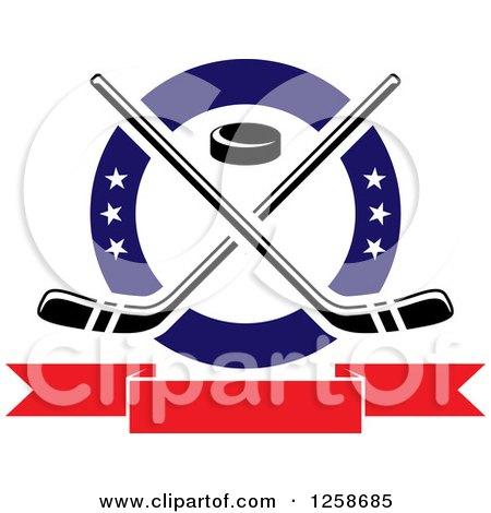 Clipart of a Puck and Crossed Hockey Sticks in a Ring with Stars over a Blank Banner - Royalty Free Vector Illustration by Vector Tradition SM
