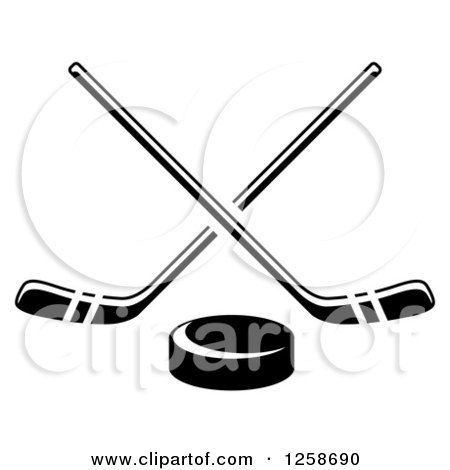 Clipart of a Black and White Hockey Puck Under Crossed Sticks - Royalty Free Vector Illustration by Vector Tradition SM