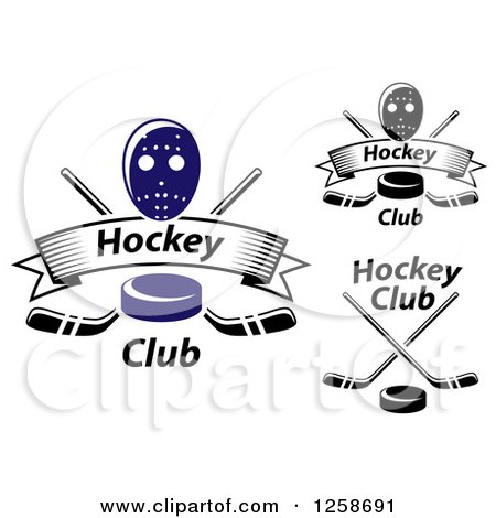 Clipart of Hockey Pucks Crossed Sticks Banners and Masks - Royalty Free Vector Illustration by Vector Tradition SM