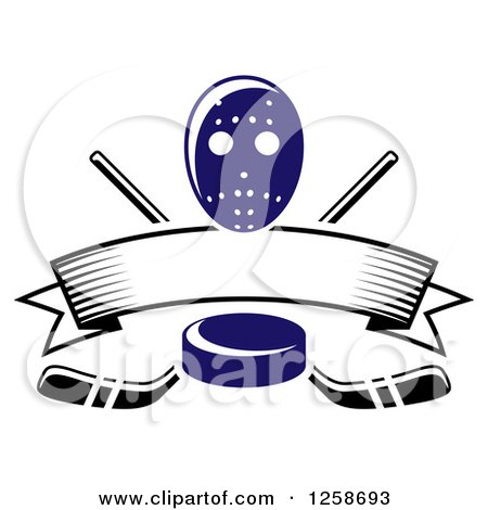 Clipart of a Blue Hockey Puck over Crossed Sticks a Blank Banner and Mask - Royalty Free Vector Illustration by Vector Tradition SM