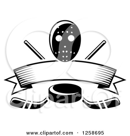 Clipart of a Black and White Hockey Puck over Crossed Sticks a Blank Banner and Mask - Royalty Free Vector Illustration by Vector Tradition SM