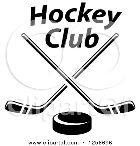 Clipart of a Black and White Hockey Puck Under Crossed Sticks and Text - Royalty Free Vector Illustration by Vector Tradition SM