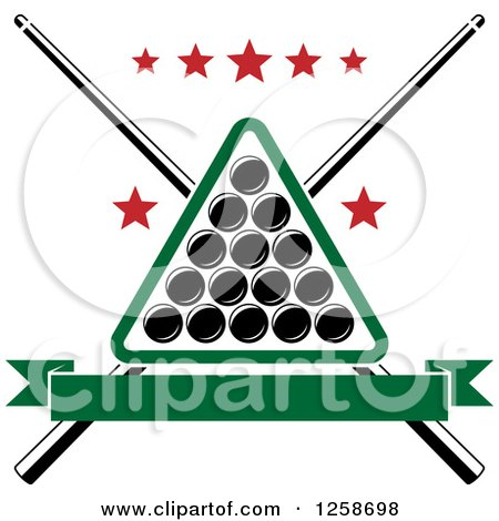 Clipart of a Billiards Triangle with Balls Crossed Cue Sticks and Stars - Royalty Free Vector Illustration by Vector Tradition SM